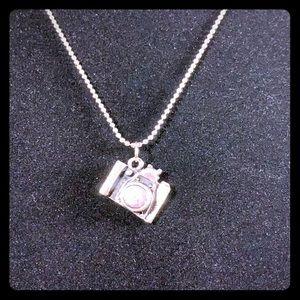 Camera pendant burnished silvertone